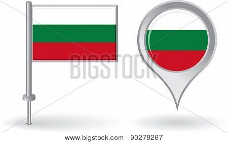Bulgarian pin icon and map pointer flag. Vector