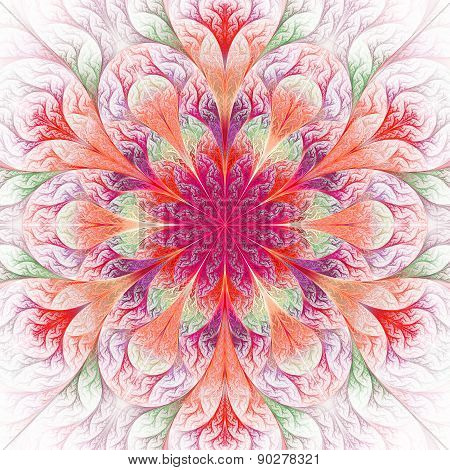 Beautiful Fractal Flower In Red. Computer Generated Graphics.