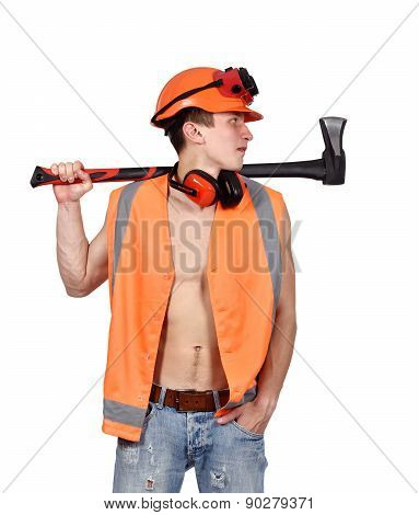 Worker Man With Ax