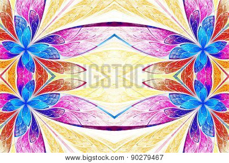 Symmetrical Flower Pattern In Stained-glass Window Style On Light. Blue, Pink And  Beige Palette. Co