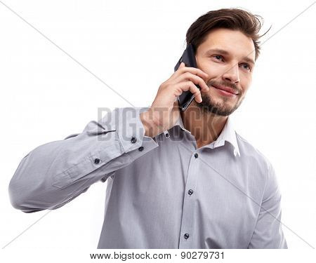 Happy Young Man Using Mobile Phone Isolated On White Background
