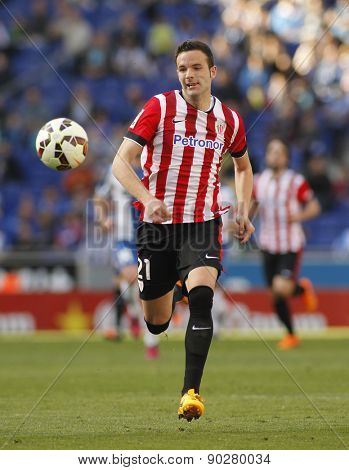 BARCELONA - APRIL, 12: Borja Viguera of Athletic Club Bilbao during a Spanish League match against RCD Espanyol at the Power8 Stadium on April 12 2015 in Barcelona Spain
