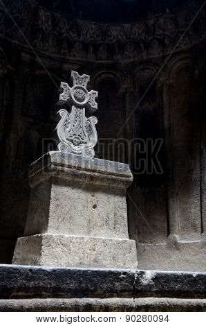 Hall Of Ancient Christian Rock Temple Geghard With A Ornamental Stone Cross,  ,armenia, Unesco World