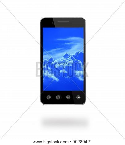 Smart-phone With Picture Of Blue Clouds