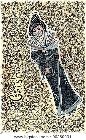 Hand Drawn Geisha Illustration Back Set Red
