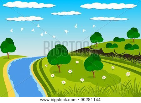 Beautiful green landscape illustration with a river