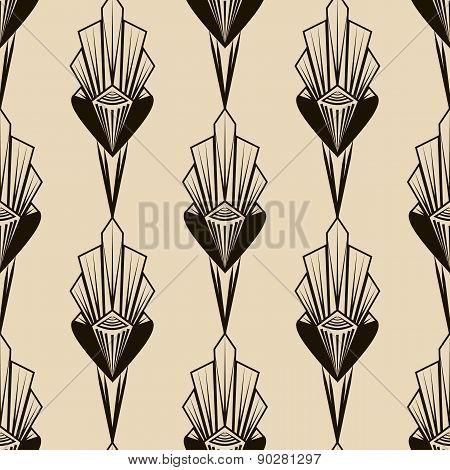 Seamless Antique Pattern Ornament. Geometric Art Deco Stylish Background Monochrome Colors