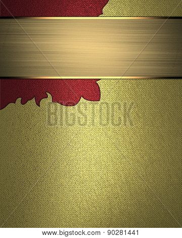 Gold Background With A Pattern In The Corner And Gold Nameplate. Element For Design. Template For De