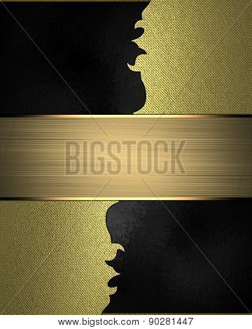 Black And Gold Background With Patterns And Nameplate. Element For Design. Template For Design. Abst