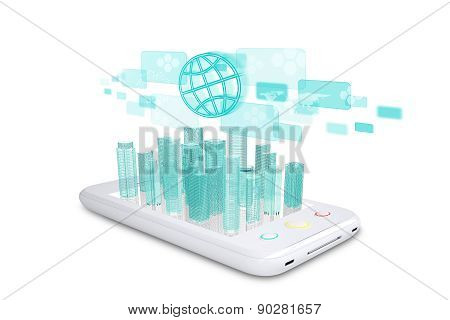 White Smartphone With Virtual Cityscape