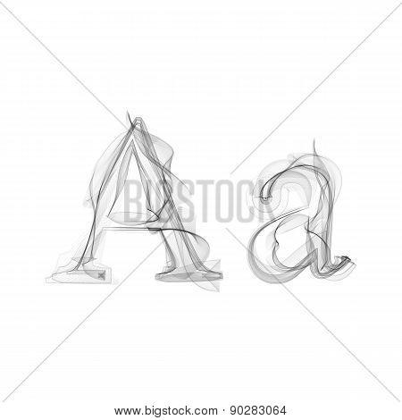 Black Smoke font. Letter A