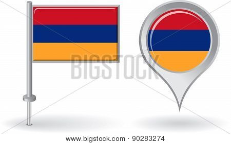 Armenian pin icon and map pointer flag. Vector