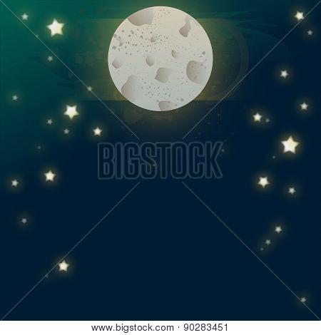 Night Sky With Moon Illustration Landscape, Light, Midnight