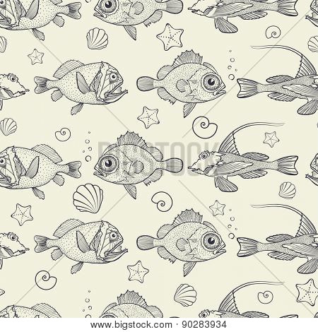 Abstract seamless pattern of marine life, vector illustration