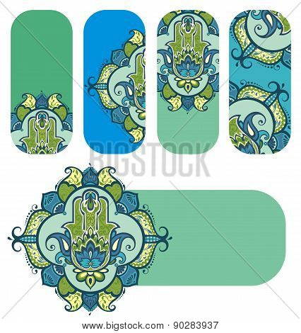 Banners with decorative hamsa
