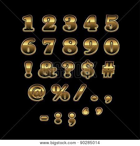 Golden numbers and punctuation marks addon for golden alphabet, vector