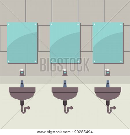 Row Of Lavatories With Mirrors.