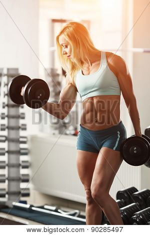 Strong woman bodybuilder