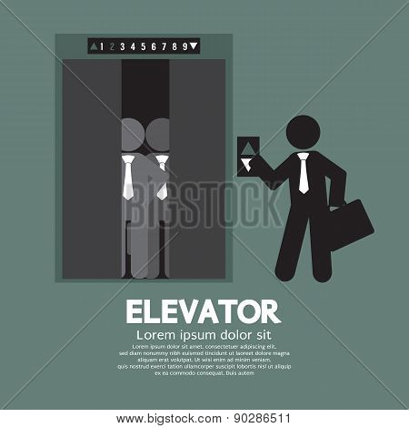 Businessman Standing With Crowded Elevator.