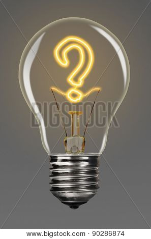 bulb with glowing question mark inside of it, creativity concept