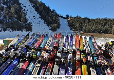 Various skis at African ski resort in Morocco