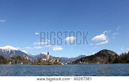 Island In Bled Lake In Slovenia