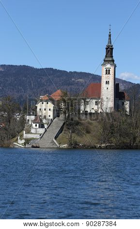 Bled Lake In Slovenia With Church