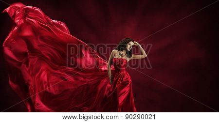 Woman in Red Dress, Fashion Model Posing in Silk Cloth Flying on Wind