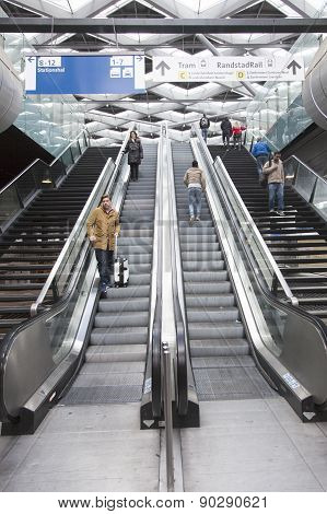 Stairs To Platforms Of The Hague Central Station