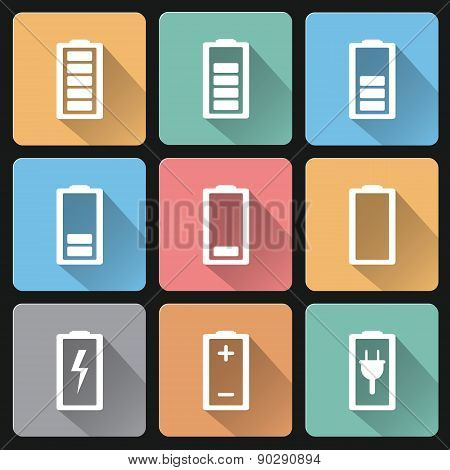 Vector Flat Design Battery Charge Icons On Pastel Colors Background