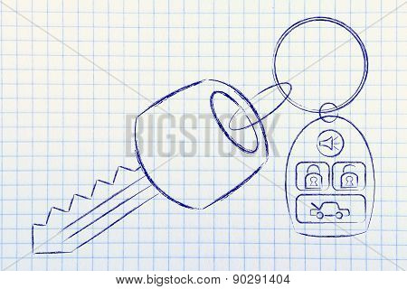 Illustration Of Car Keys With Remote