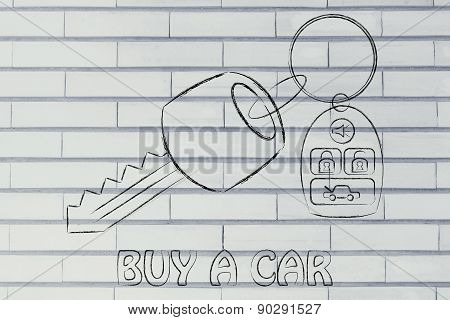 Illustration Of Car Keys With Remote
