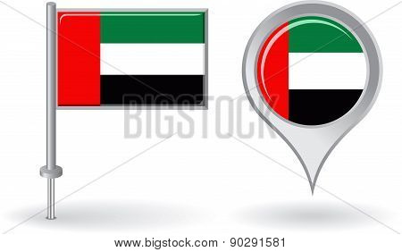 United Arab Emirates pin icon and map pointer flag. Vector
