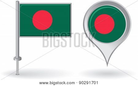 Bangladesh pin icon and map pointer flag. Vector