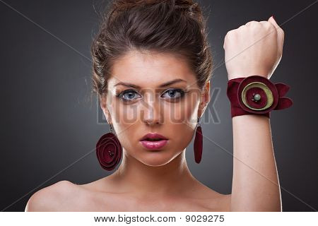 Woman Wearing Leather Jewlery