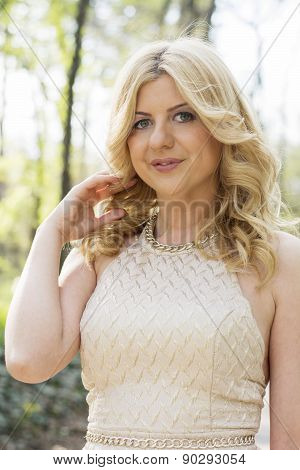 Blond Woman Close Up In Outdoors