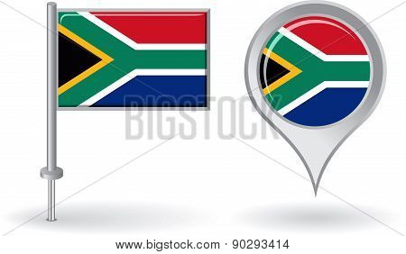 South African pin icon and map pointer flag. Vector
