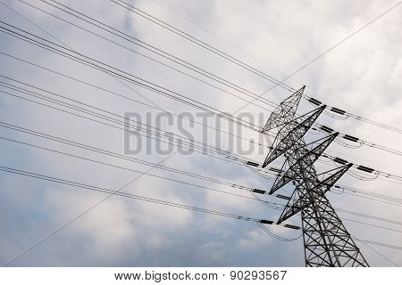 Powerlines On Soft Cloudy Sky