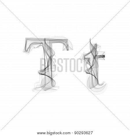 Black Smoke font. Letter T