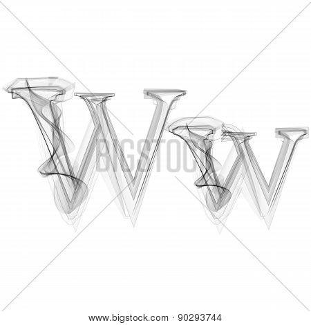 Black Smoke font. Letter W