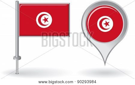 Tunisian pin icon and map pointer flag. Vector