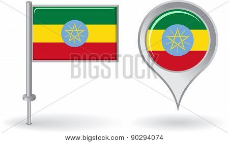 Ethiopian pin icon and map pointer flag. Vector