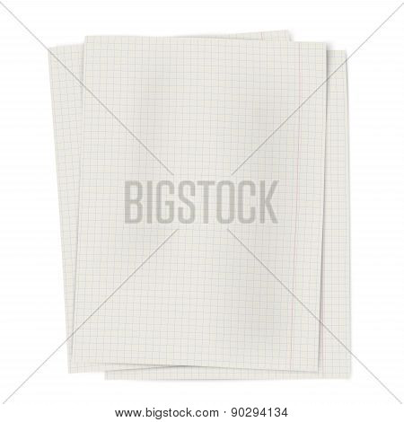 Pile Of Notebook Squared Sheets Of Paper Isolated On White Background