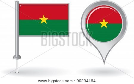 Burkina Faso pin icon and map pointer flag. Vector