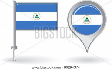 Nicaraguan pin icon and map pointer flag. Vector