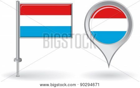 Luxembourg pin icon and map pointer flag. Vector