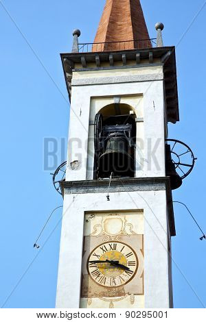 Travedona Monate Old   Church Tower Bell Sunny