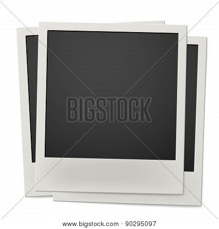 Pile Of Retro Instant Photo Frames Isolated On White Background