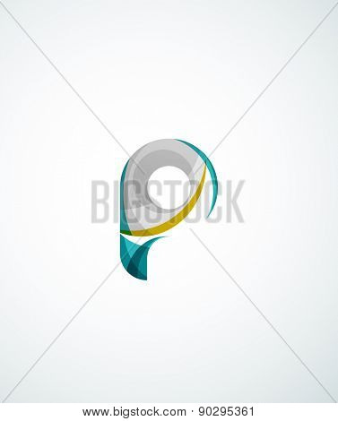Letter company logo design. Clean modern abstract concept made of overlapping flowing wave shapes