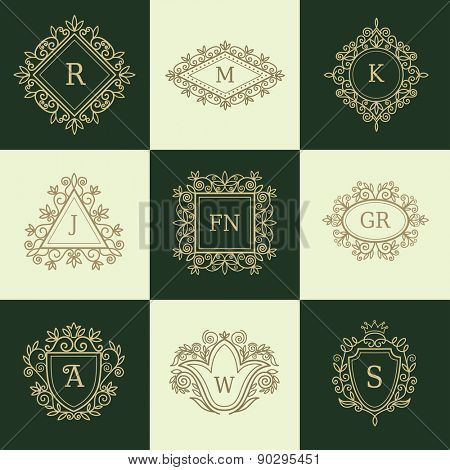 Set of Line Monograms. Vintage Floral Frames for your Logo, Invitation, Wedding Background.